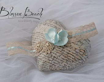Vintage lace and ribbon garter;vintage lace bridal garter;taupe and light blue garter
