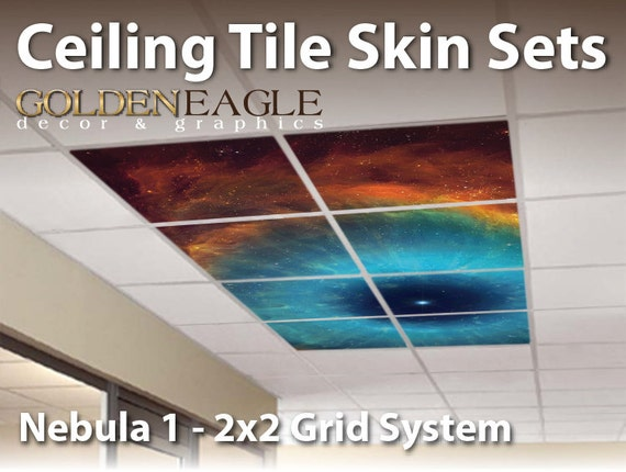 Ceiling Tile Skin Nebula 1 Kit 2x2 Grid Glue Up Decorative