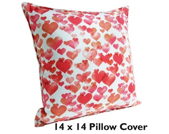 Heart Pillow Cover 14 WATERCOLOR HEART Love Gifts Gift for Her, Red Heart Decor, Red Heart Gifts, Love Pillow