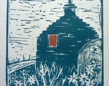 COUNTRY COTTAGE LINOCUT - Scotland Art - Croft Linoprint