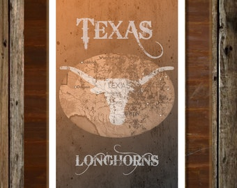 Texas Longhorns Map Topographical Sports Print Art 11x17