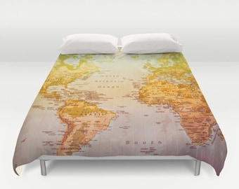 World map duvet cover, bedding, bed sheets, duvet cover, world map, bedroom, king size, twin, full size, queen size, countries, map