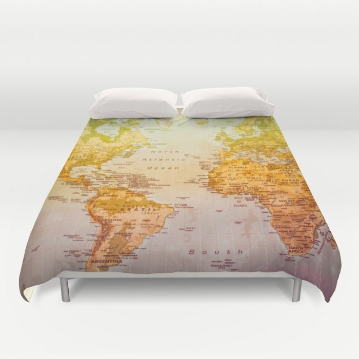 World map duvet cover bedding bed sheets duvet by CalamariSky