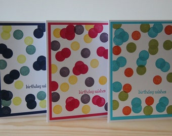 9 Confetti Birthday Cards. Birthday Card Set. Bubble Birthday Cards.  Polk-A-Dot Birthday Card Set.  Birthday Greeting Card Assortment Set