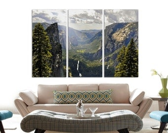 Green Forest, mountains and Trees Large Wall Art Print, Forest Canvas Print, Forest and Spring Canvas Print, Wall Art Canvas Print 3 Panel