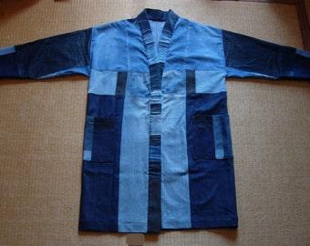 Contemporary Hamagi Coat, Noragi, upcycled denim fabric