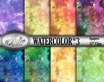 Digital watercolor background Watercolor digital paper Bright watercolor paper Watercolor background printables Watercolor printables paper