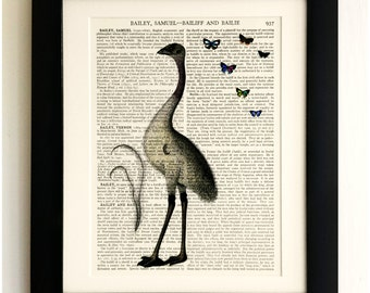ART PRINT on old antique book page - Big Bird, Butterflies, Vintage Upcycled Wall Art Print Encyclopaedia Dictionary Page, Fab Gift!