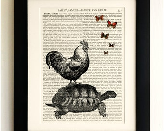 ART PRINT on old antique book page - Chicken on a Tortoise with Butterflies, Vintage Upcycled Wall Art Print, Encyclopaedia Dictionary Page