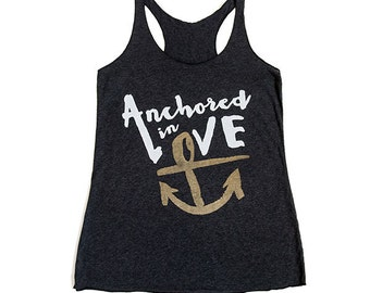 "Ladies Nautical ""Anchored in Love"" Anchor Racerback Tank - Vintage Black Tri-Blend"