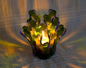 Candle Holder Fused Glass Tealight Holder Green and Yellow Colors Glass