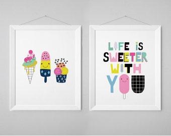 Colorful Nursery Print Set - Life is Sweeter with you - Ice Cream - Nursery Wall Art - Baby Girl - Print Scandinavian Nursery (1210-2)