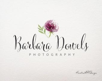 Hand-drawn logo, Flower logo, Photography logo, Watercolor watermark, Premade logo, Watercolor flower logo 253