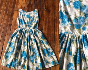 1950s White with Turquoise Floral Print Dress