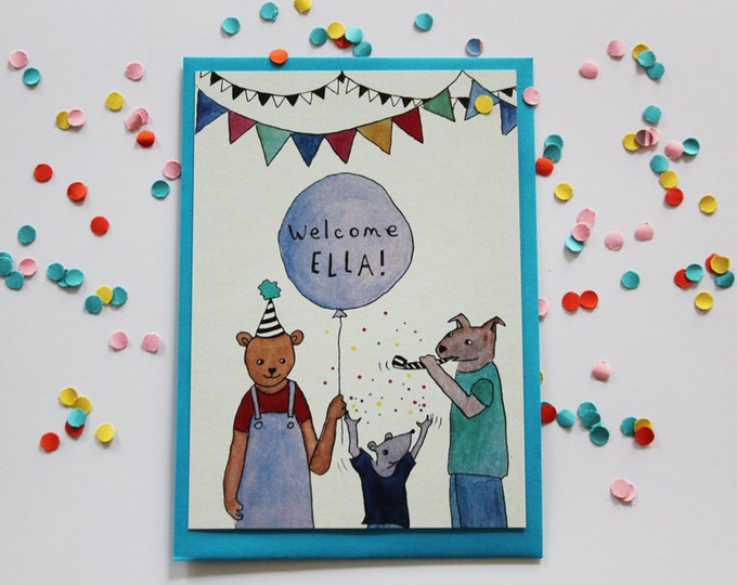 Illustrated postcard for children (birth or birthday) with customized message - hand painted - cute animals - party, balloon, confetti