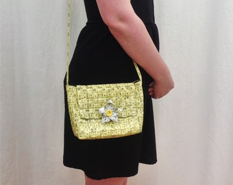 Small Yellow Tape Measure Bag with Magnetic Fastening and Daisy Detail