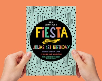 Mexican Fiesta Invite 18th 21st 30th 40th 50th 60th Birthday Mexico Cactus Printable Downloadable Personalised Invitation