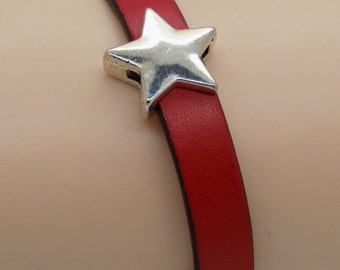 Red Leather and Silver Star Bracelet Magnetic Clasp