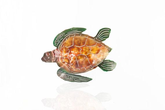 Metal Sea Turtle Wall Art, Aluminum Sea Turtle, Outdoor Art, Beach Decor, Beach House Decor, Deck Art, Metal Wall Art, Gift for Ocean Lover