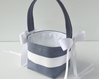 Custom wedding flower girl basket, YOU CHOOSE the color blocks