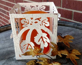 Fall decor ..  lantern candle holders with globe, pumping design.  FREE SHIPPING! Item # 911163