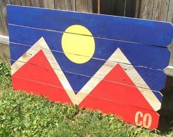 Denver Flag-Recycled Wood Art