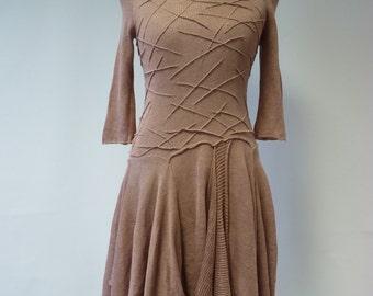 The hot price. Handmade  powder pink linen dress, S size.