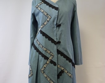Sale, new price 50 Euro, original price 80 Euro. Folk pearl blue cotton coat, M size. One-of-a-kind, perfect for spring.