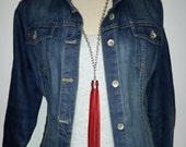 Red Tassel Necklace, Red Leather Tassel Necklace, Bohemian Necklace, Tassel Necklace, Leather Tassel, Red Leather Necklace, Red Fringe