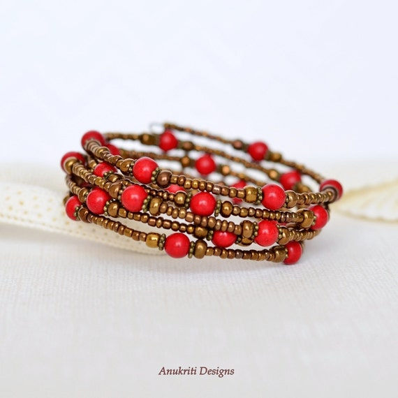 Boho bracelet - Womens gift - Gift for her under 20 - Valentines Day gift - Red howlite Memory wire wrap bracelet - Bronze beaded bracelet