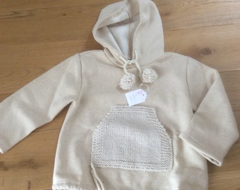 Ecru wool sweater and sizes from 86 to 122