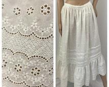 1910s EYELET white cotton petticoat ** size medium ** Antique edwardian skirt slip
