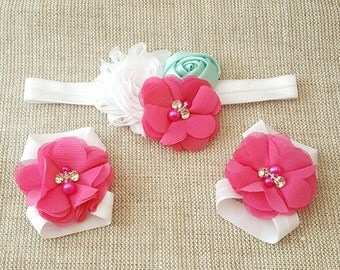 Hot Pink & Aqua Barefoot Baby Sandals and Headband - Hot Pink Cake Smash - Aqua Cake Smash - Baby Barefoot Sandals - Baby Shower Gift