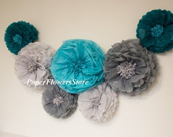 3D decorations - Tissue Paper Flowers set of 7 (3/4) -  Huge Paper Blooms - Baby shower - Birthday decorations - Backdrop wallpaper