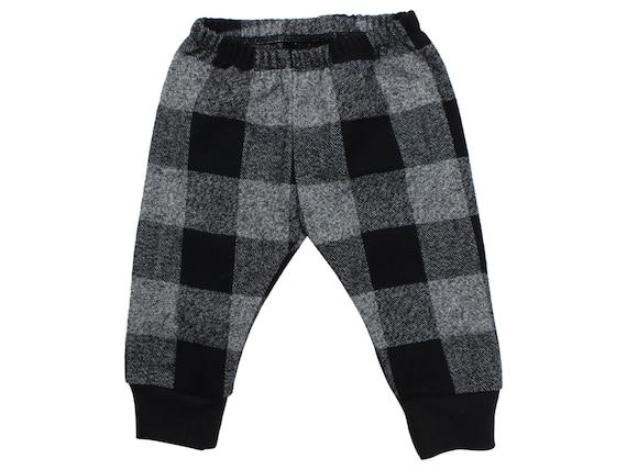 Gray Buffalo Plaid Flannel Boy Pants Toddler Pants Fall Winter Pants Gray Baby Leggings Buffalo Check Gray Black Buffalo Plaid Baby Leggings