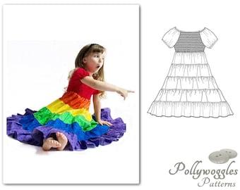 """Rainbow Dress Pattern - """"Felicity Joy"""" - 1-10Y - Shirred Bodice PDF"""