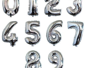 40 inch SILVER number  balloon.  number 1-9 balloon, silver foil balloon,1,2,3,4,5,6,7,8,9,0