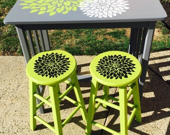 SOLD- Child's Craft Table and Stools- Custom Painted