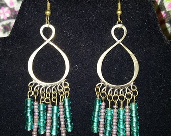 Brass and Teal Chandelier Earrings