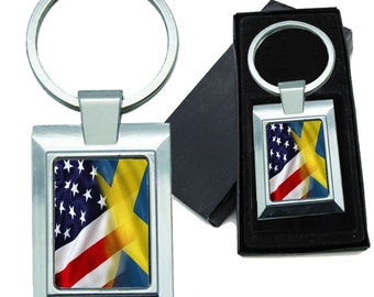 Mixed USA and Sweden Flag Rectangle Metal Keychain