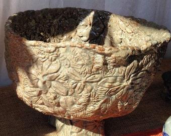 Handbuilt Carved Flower Bowl