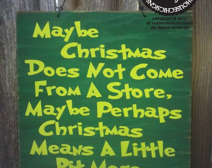 Christmas decor, Christmas decoration, Grinch Sign, Grinch Saying, Grinch Quote, How The Grinch Stole Christmas, Grinch decor, 20/185