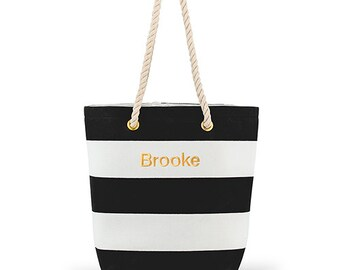 Custom Beach Tote Bag - Cabana Tote - Personalized Tote Bag - Large Black and White Striped Tote Bag - Destination Wedding - Beach - Pool