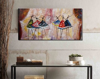 Original Art Extra Large Oil Painting Ballet Dancer Painting Canvas Wall Art Abstract Art Living Room Wall Art Oil Painting Ready to Hang
