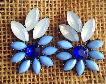 Blue Flower Statement Earring Studs