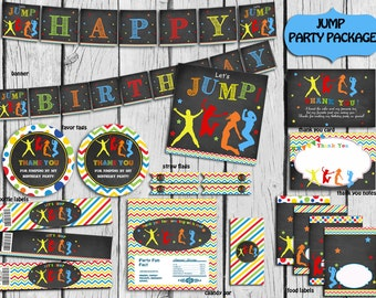 Jump Party Package PERSONALIZED , Trampoline Party Decorations,Bounce Birthday,Bounce Party Supplies,DIY Party Printable