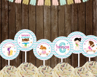 Gymnastic Cupcake Toppers PERSONALIZED, Gymnastic Stickers, Gymnastic Party Printable, Gymnastic favors DIY