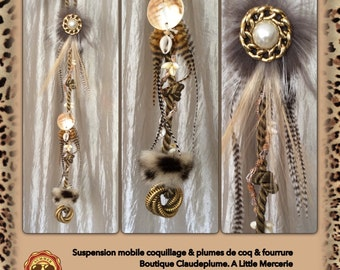 A mobile Decoration feathers & jewelry