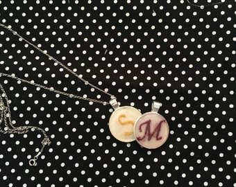 Embroidered initial necklace