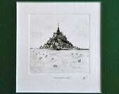 Black white landscape drawing ink original sketch  work makes single hand engraving Monotype Mont-Saint-Michel Normandy France gift idea